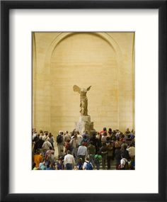 Interior of The Louvre Museum Showing Winged Victory Statue and Tourists, Paris, France Framed Photographic Print