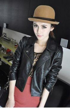 Stylish-Women-Motorcycle-Leather-Coat-Jacket-S-XXL-Diagonal-Zipper-Short
