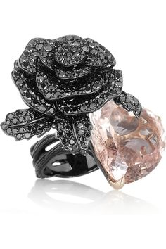 Lydia Courteille ~ 18-karat blackened white gold, diamond and beryl ring http://VIPsAccess.com #Twoosh