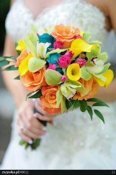 Candy Colored Bride's Bouquet: Orange Roses, Yellow Mini Callas, Green Cymbidium Orchids, Hot Pink Spray Roses & Teal Tinted Roses