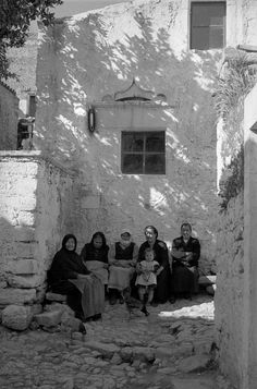 1955 #Crete, #Greece #sitting #chatting #company #old #black #white