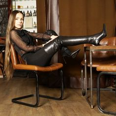 Beige Boots, Black High Boots, Thigh High Boots Heels, High Leather Boots, Long Boots, Heeled Boots, Ladies Leather Boots, Leather Outfits, Leather Dresses