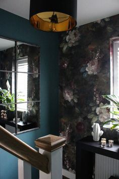 Hall and Stairs - The Final Reveal - moody paper, teal, metallics, black and white accessories Black Hallway, Hallway Walls, Hallway Ideas, Interior Stairs, Interior And Exterior, Interior Design, Teal Rooms, Teal Paint, Beautiful Wall