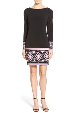 MICHAEL Michael Kors Border Print Jersey Shift Dress (Regular & Petite) available at #Nordstrom