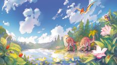Cretaceous Landscape, Iva Vyhnánková on ArtStation at https://www.artstation.com/artwork/29v0y