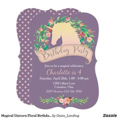 "Magical Unicorn Floral Birthday Party Card - A magical unicorn birthday party invitation that is sure to delight a little girl on her special day. A lovely unicorn silhouette is surrounded by a half-wreath of watercolor flowers and delicate leaves with a matching ""Birthday Party"" pink banner. The contrasting background in dusty purple adds contemporary style. Sold at Oasis_Landing on Zazzle."