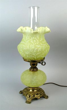 Vaseline Opalescent Fenton L. Antique Oil Lamps, Old Lamps, Vintage Lamps, Vintage Glassware, Plywood Furniture, Fenton Lamps, Kelly Wearstler, Hurricane Lamps, Kerosene Lamp