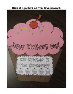 This super cute activity is a coupon book for mom on Mother's Day! Simply copy the cupcake pieces on colored construction paper and students can cu...