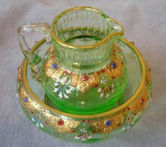 Antique Moser Green Gilded Gold, Enamel & Rhinestone Creamer & Sugar Bowl~Signed