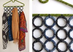 A great reuse for shower curtain rings and a plastic clothes hanger? A fabric-wrapped scarf organizer.