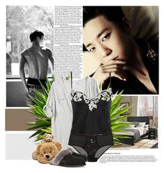 """""""Contest: sleeping with you... Bang Yongguk"""" by lisannevicious ❤ liked on Polyvore featuring Home Styles, La Perla, STELLA McCARTNEY, UGG Australia, kpop, bap and YongGuk"""