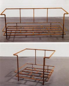 Jorge Pardo, Le Corbusier Sofa and Le Corbusier Chair, 1990.© Jorge Pardo In the 1990's, Cuban artist Jorge Pardo created a DEfabrication of Corbusier's classic chair and loveseat using unpolished industrial copper tubing rather than the polished steel tubes that form the frame of the original, turning it into a bare skeleton or sculpture.