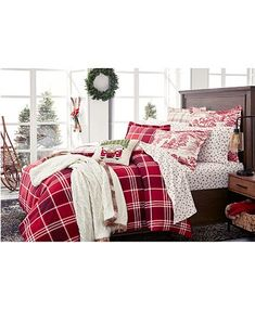 Plaid Flannel, Red Plaid, Flannel Duvet Cover, Fitted Sheets, King Duvet, Bedding Collections, Plaid Pattern, Martha Stewart, Bedding Sets