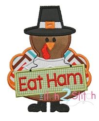 Turkey Eat Ham Applique - 4 Sizes! | Thanksgiving | Machine Embroidery Designs | SWAKembroidery.com The Itch 2 Stitch