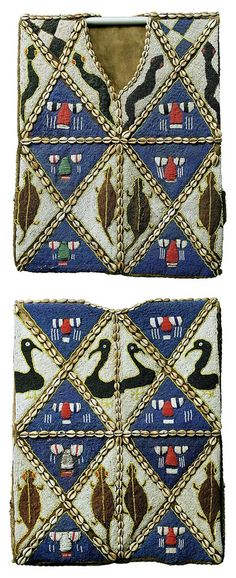 Africa | Vest from the Yoruba people of Nigeria. | Intricately decorated with glass beads and cowrie shells.