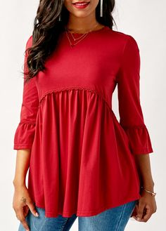 Red Flare Sleeve Round Neck Blouse on sale only US$28.74 now, buy cheap Red Flare Sleeve Round Neck Blouse at liligal.com