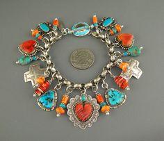 Vintage NAVAJO JOAN SLIFKA DAN DODSON TURQUOISE HEART CHARM Bracelet ♥Necklace
