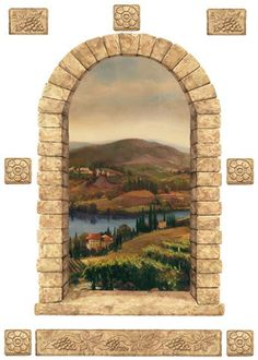 Vineyard Stone Window Peel and Stick Mural - Wall Sticker Outlet