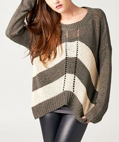 Another great find on #zulily! Elegant Apparel Charcoal & Ivory Stripe Sweater by Elegant Apparel #zulilyfinds