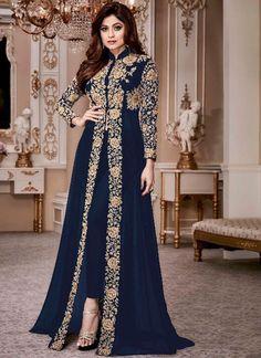 Material: Polyester Silhouette: A-Line Dress Length: Floor-Length Sleeve Length: Nine Points Sleeve Sleeve Type: Regular. Pakistani Dress Design, Pakistani Dresses, Indian Dresses, Indian Outfits, Bridal Anarkali Suits, Abaya Fashion, Indian Fashion, Fashion Dresses, Fashion Women
