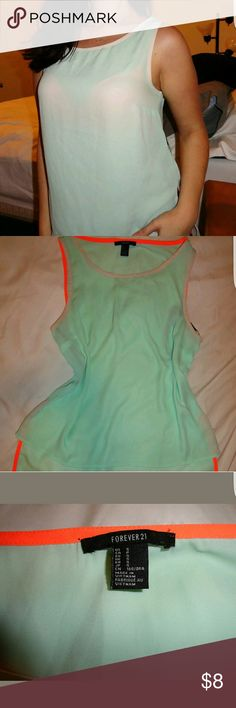 EUC Forever 21 Hi Lo Flowy Tank Shirt Green XS S Hello everyone! Cute semi sheer green shirt for sale. Semi sheer. Neon orange lining. Hi lo style. Worn maybe twice.   FYI: I do have a dog, but she is not allowed near clothes. Forever 21 Tops