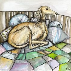 A Little Comfortable - Saluki Art Dog Print