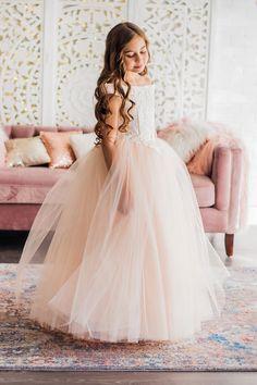 Blush Off Shoulder Flower Girl Dress Pretty Flower Girl Dresses, Girls Fall Dresses, Wedding Dresses For Kids, Gowns For Girls, Burgandy Flower Girl Dress, Kid Dresses, Cute Girl Dresses, Girls Pageant Dresses, Flower Dresses