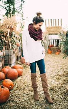 """Beckam would try to pick up every pumpkin accompanied by a grunt if it was too big or """"ohhhh"""" if he was able to pick it up.      More his size :)    DETAILS: WHITE SWEATER (UNDER $40 – WEARING SIZE SM"""