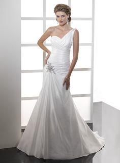 Dropped waist chapel train sleeveless taffeta charming bridal gown