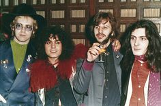 """British musicians, from left, Elton John, Marc Bolan, Ringo Starr and Mickey Finn are seen at the premiere of the 1972 movie """"Born to Boogie"""" at Oscar I in London, England, Dec. 15, 1973. Marc Bolan died in a car accident at 30."""