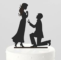One Knee Proposal Black Silhouette Cake Topper