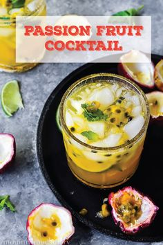 Find another fruity mixed drink you'll love with this recipe for a Passion Fruit Cocktail. With it's unique and tropical flavor, this boozy concoction is sure to shine at your next spring party. Vodka Recipes, Punch Recipes, Cocktail Recipes, French Vodka, Fruity Mixed Drinks, Alcoholic Desserts, Korean Dessert, Frozen Drinks, Classic Cocktails