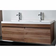 Modern double sink vanity Modern Teak Modern Bathroom Vanity Set With Wavy Sinks In Walnut Tna1440wn Conceptbaths Pinterest 28 Best Double Vanities Images Modern Bathroom Modern Bathrooms