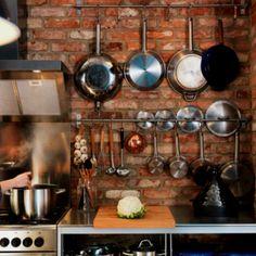 28 exposed brick wall kitchen design ideas - Home Tweaks. Exposed Brick Kitchen, Brick Wall Kitchen, Rustic Kitchen, New Kitchen, Kitchen Dining, Kitchen Utensils, Country Kitchen, Kitchen Island, Urban Kitchen