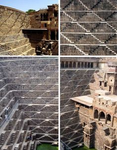 Perhaps one of the most beautiful examples of patterns in architecture, the 10th century Chand Baori Well in India is the world's deepest, extending 100 feet below the surface of the earth. Built as a solution to chronic water supply issues in this arid region, the well has a total of 3,500 steps in 13 levels arranged in an inverted 'V' shape. It's difficult to imagine the construction process for such a complex stone structure with the technology available at the time.