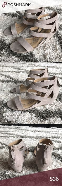 NWT Beige Taupe Suede Wedges Size 8.5 Love! American Rag Shoes Wedges