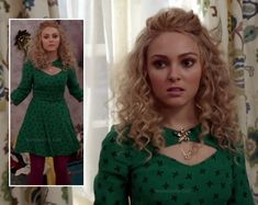 Carrie's green bow print dress with front cutout on The Carrie Diaries.  Outfit details: http://wornontv.net/12126/