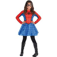Web sling to the rescue as the neighborhood's friendly Spider-Girl! This exclusive Red Spider-Girl Costume for girls features a web-printed dress with full blue mini skirt. Halloween Costumes Party City, Girl Superhero Costumes, Toddler Costumes, Super Hero Costumes, Girl Costumes, Halloween Ideas, Female Costumes, Homemade Halloween, Family Halloween
