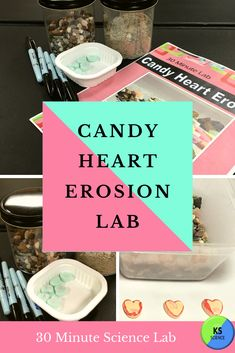 Engage students in a fun hands-on experiment using candy hearts.  Discover weathering and erosion with an easy prep activity that you can complete in 30 minutes.  A complete teacher guide and student reading comprehension pages included.  This makes a great Valentine's themed lab. Earth Science Experiments, Science Fair Projects, Valentine Candy Hearts, Weathering And Erosion, Fourth Grade Science, Upper Elementary Resources, Next Generation Science Standards, Science Resources, Student Reading