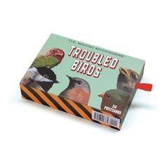 Troubled Bird Postcard Set of 50 - Birds - Animal - Mincing Mockingbird by MincingMockingbird on Etsy https://www.etsy.com/listing/482195265/troubled-bird-postcard-set-of-50-birds