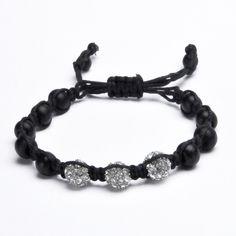 Shamballa Inspired Trinity Bead Bracelet Black