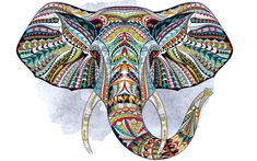 Illustration of Ethnic patterned head of elephant on the grange background/ african / indian / totem / tattoo design. Use for print, posters, t-shirts. vector art, clipart and stock vectors. Photo Elephant, Tribal Elephant, Elephant Face, Cute Baby Elephant, Elephant Tattoos, African Elephant, Elephant Gifts, Indian Elephant Art, Colorful Elephant
