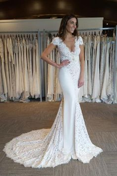 Cheap bridal gowns sleeves, Buy Quality backless wedding dress directly from China mermaid bridal gown Suppliers: Lace Wedding Dresses Vintage Long Vestido De Noiva V neck Backless Wedding Dress Mermaid Bridal Gowns Sleeves Ivory Train Lace Mermaid, Mermaid Dresses, Mermaid Wedding, Wedding Dresses 2018, Bridal Dresses, Prom Dresses, Dresses 2016, Dresses Uk, Evening Dresses