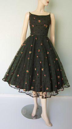 1950s Jonny Herbert Original - Embroidered Tulle Over Taffeta - Party Dress - Layered- Curvy - Huge Skirt