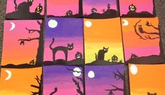 SPOOKY SILHOUETTE PAINTINGS. These paintings can be adapted for any grade level, using any medium. These are done with 6th Grade, using acrylic paint.