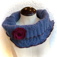 Upcycled Soft Wool Cowl Collar Scarf