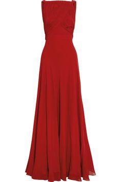 Saint Laurent|Hand-pleated silk-georgette gown|NET-A-PORTER.COM