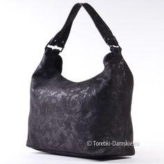 805038a956b54 Czarna torba - worek na ramię z ornamentami ozdobnymi na powierzchni,  niezwykły wygląd, pojemna