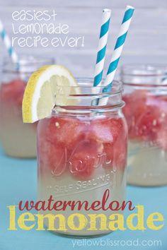 Refreshing Watermelon Lemonade and the Easiest Lemonade Recipe EVER! - Yellow Bliss Road
