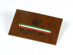 Real leather badge hot stamped with italian flag ribbon sewn #leather #label